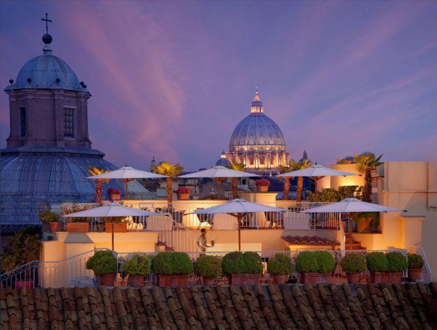 Raphaël Hotel Roma, grande bellezza stile Veg in terrazza